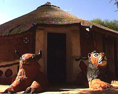 hut and animals