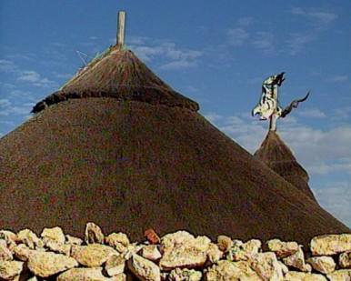 hut with rhino skull